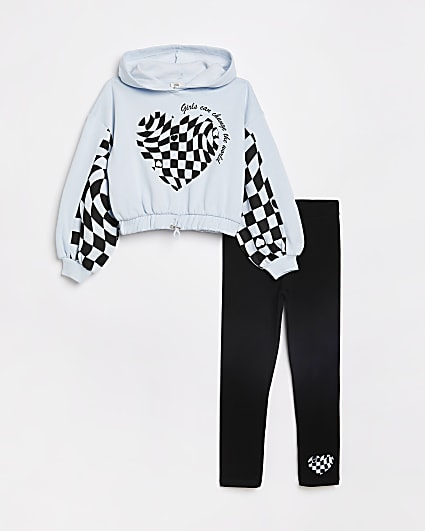 Girls blue checkerboard hoodie outfit