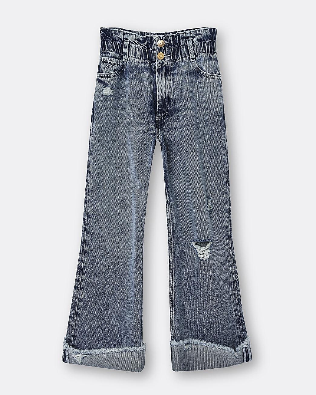 Girls blue cinched wide leg paperbag jeans