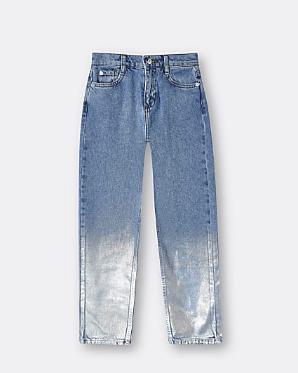 Girls blue coated straight leg jeans