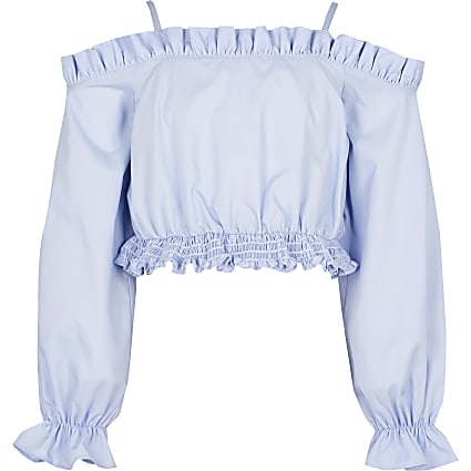 Girls blue cold shoulder bardot top