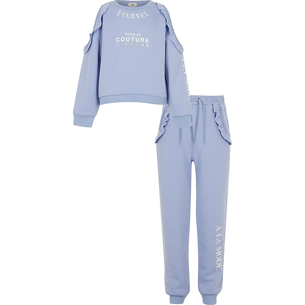 Girls blue cold shoulder sweatshirt outfit