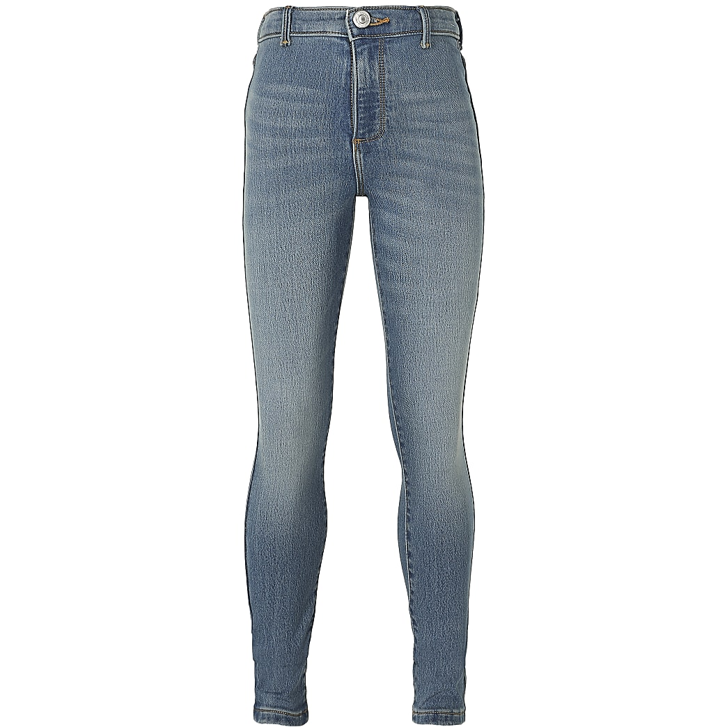 Girls blue comfort high rise jeggings