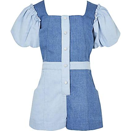 Girls blue contrast denim playsuit