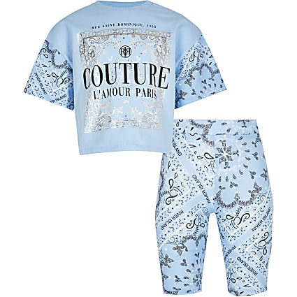 Girls blue 'Couture' cycling shorts outfit