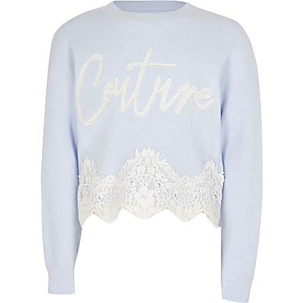 Girls blue 'Couture' lace hem jumper