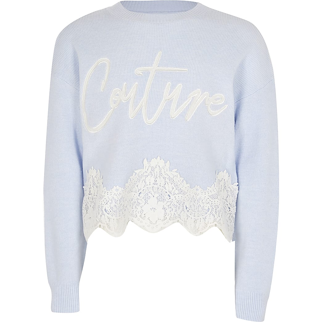 Girls blue 'Couture' lace hem jumper