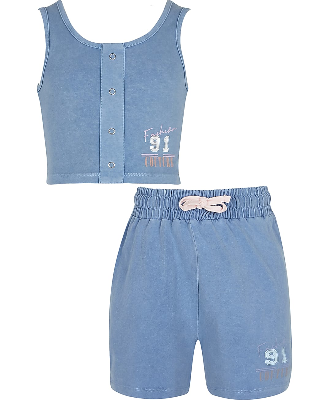 Girls blue crop top and shorts outfit