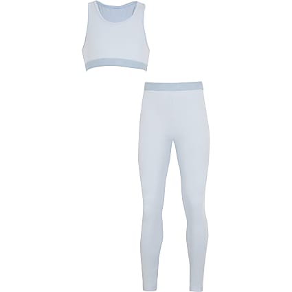 Girls blue crop top loungewear set