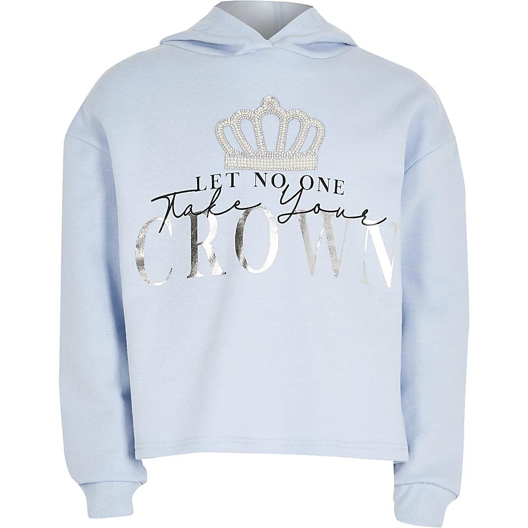 Girls blue crown hoodie