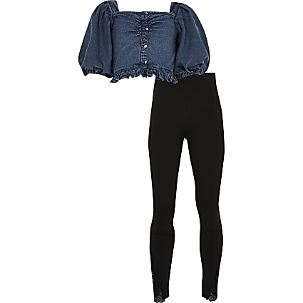 Girls blue denim bardot outfit