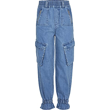 Girls blue denim cargo joggers