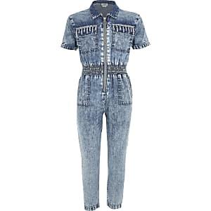 Blauwe denim jumpsuit met siersteentjes voor meisjes