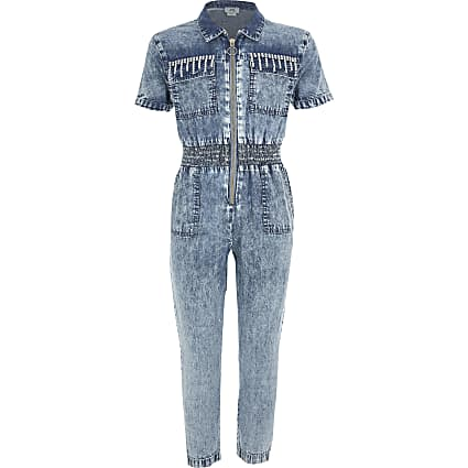 Girls blue denim diamante jumpsuit