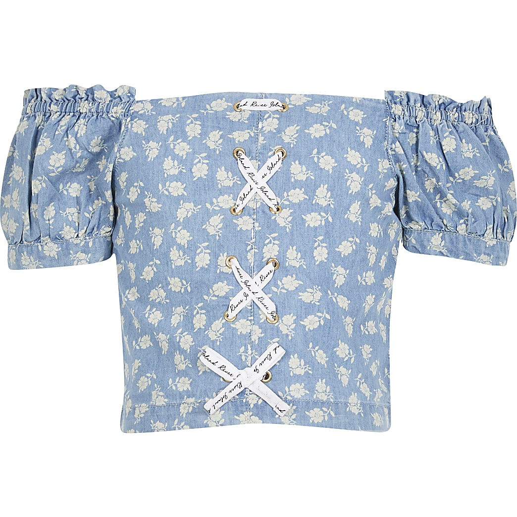 Girls blue Denim floral print bardot