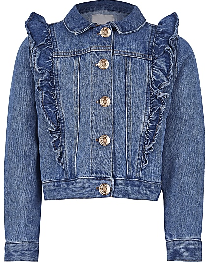 Girls blue denim frill jacket