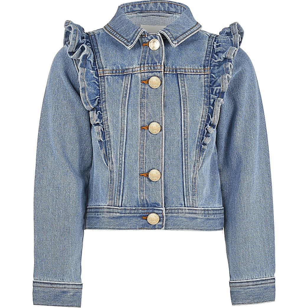 Girls blue denim frill jacket