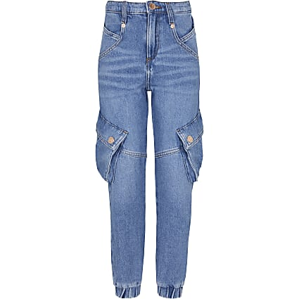 Girls blue denim joggers