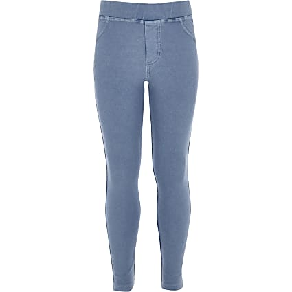 Girls blue denim leggings