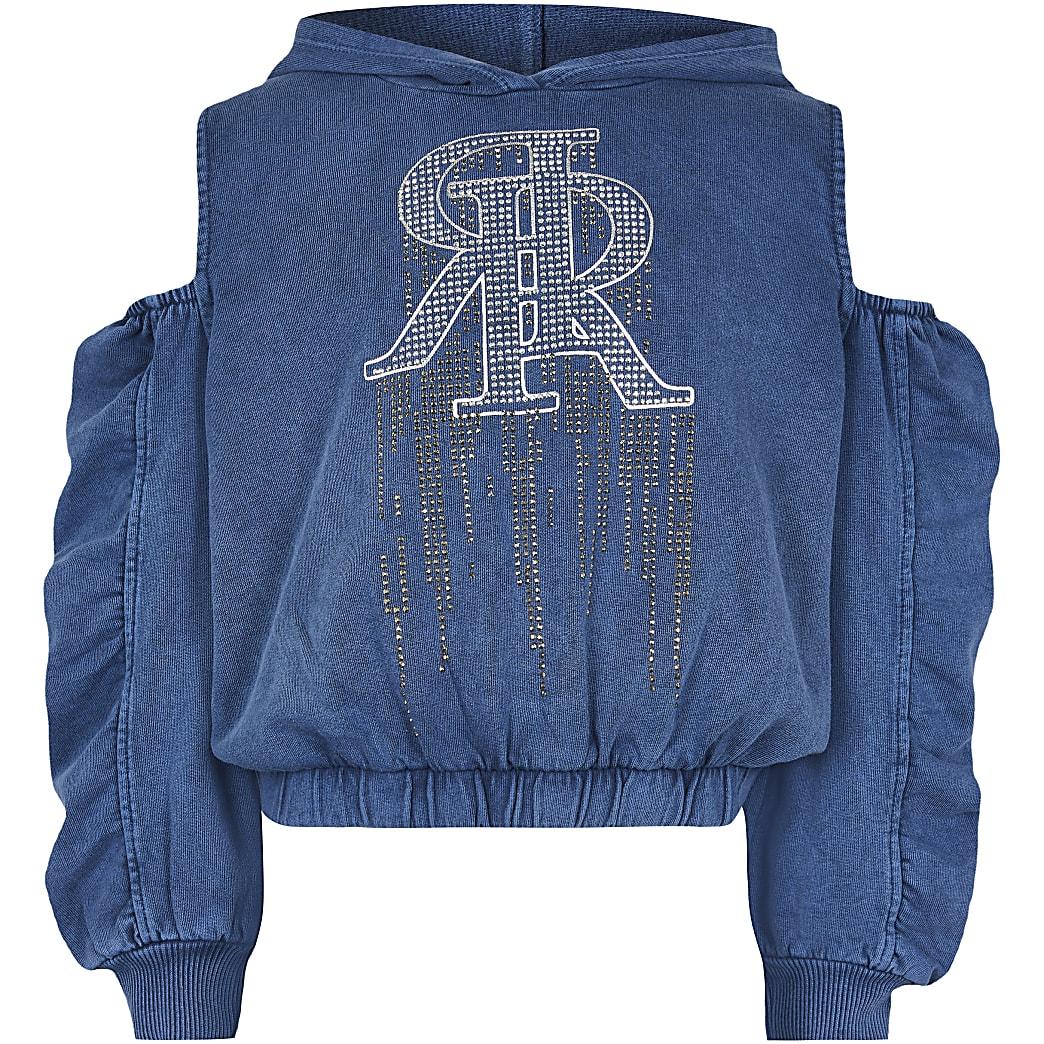 Girls blue denim look cutout sweatshirt