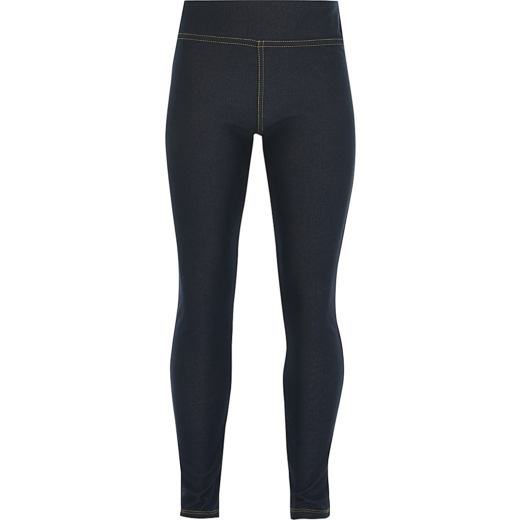 Girls blue denim look leggings