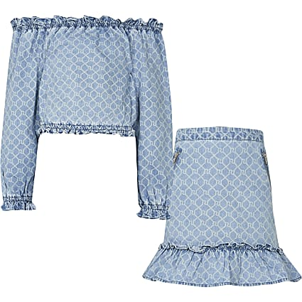 Girls blue denim monogram bardot outfit