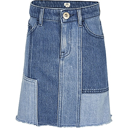 Girls blue denim patchwork skirt