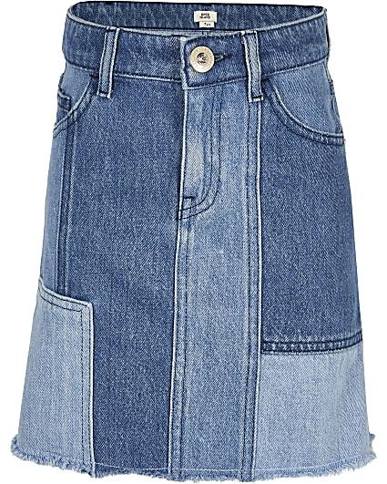 Girls blue denim patchwork skirt