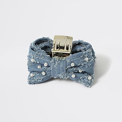 Girls blue denim pearl bow hair clip