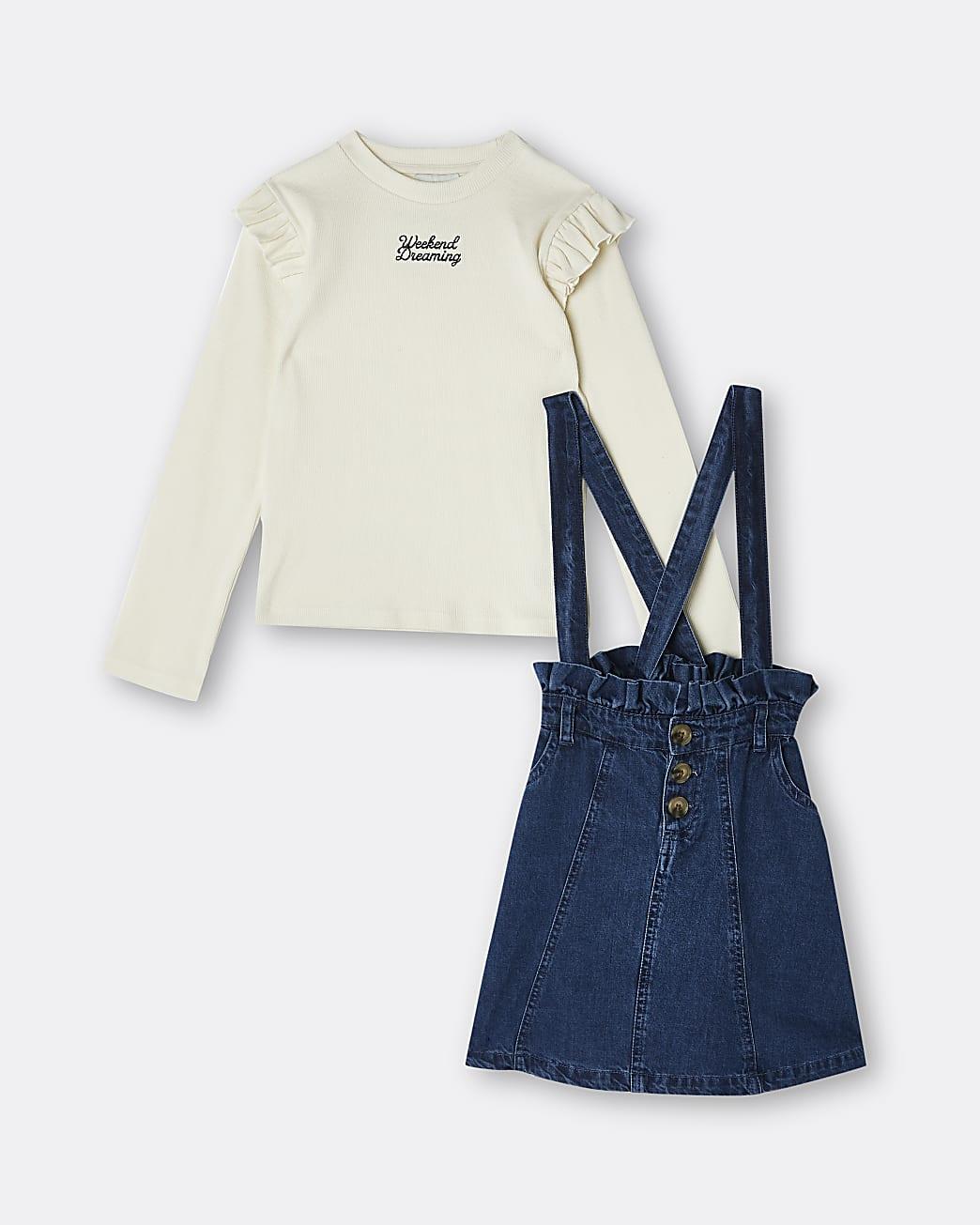 Girls blue denim pinafore dress outfit