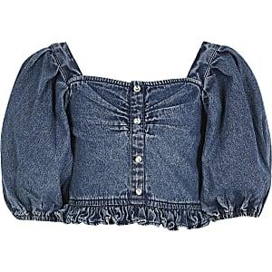 Girls blue denim puff sleeve cropped top