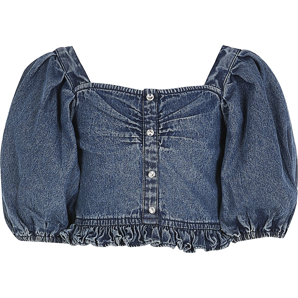 Girls blue denim puff sleeve cropped top