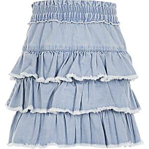 Blauwe denim rara-rok voor meisjes