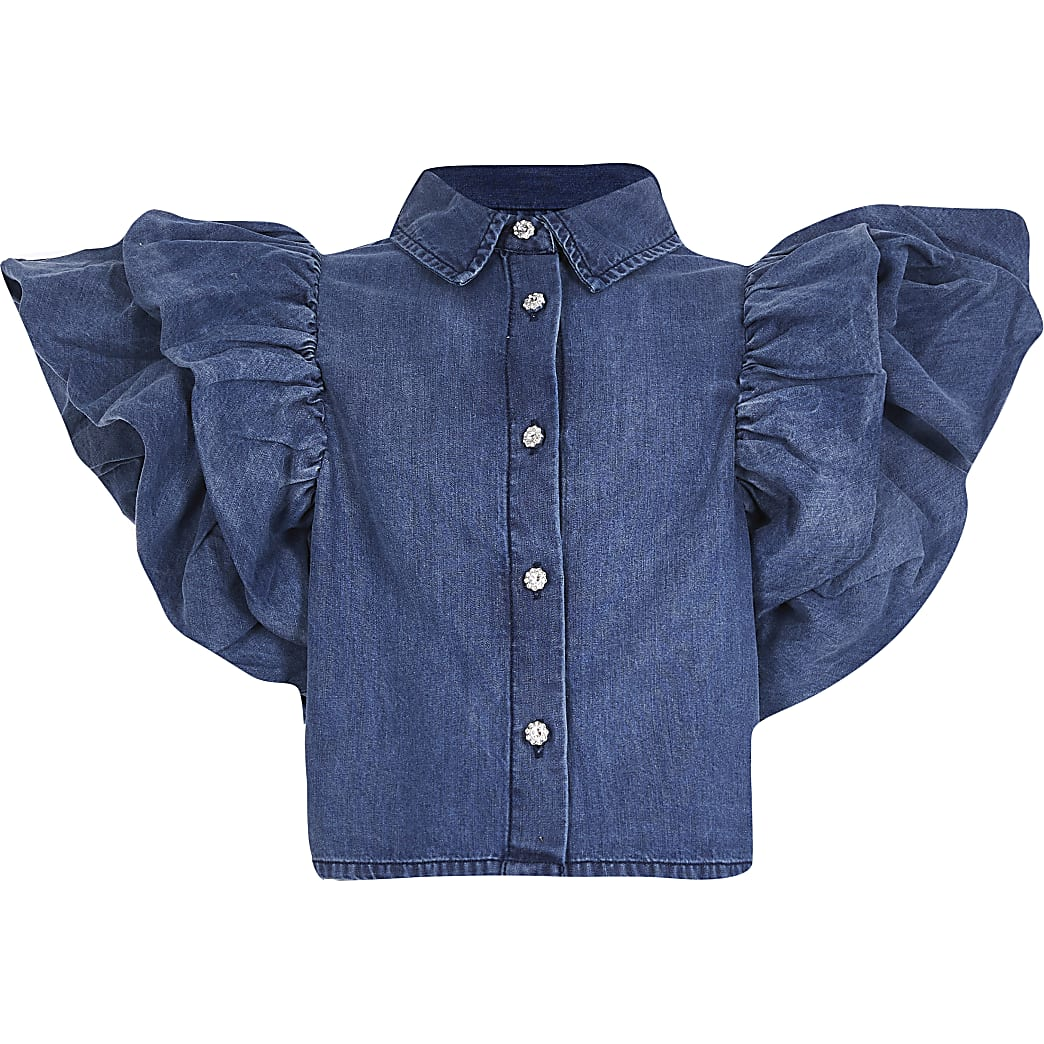 Girls blue denim ruffle sleeve shirt