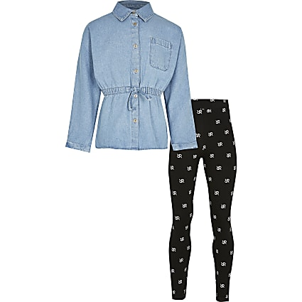 Girls blue denim shirt & leggings outfit