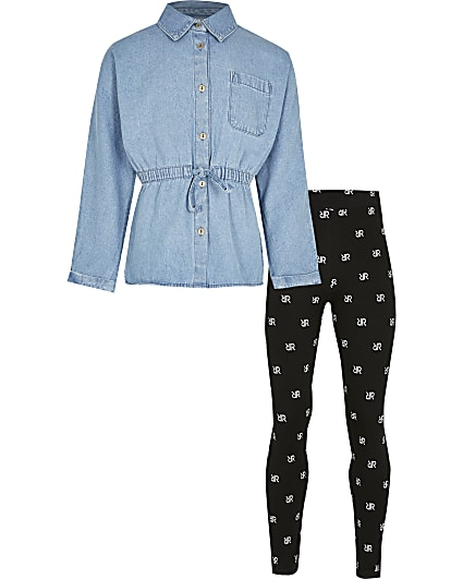 Girls blue denim shirt & leggings outfit