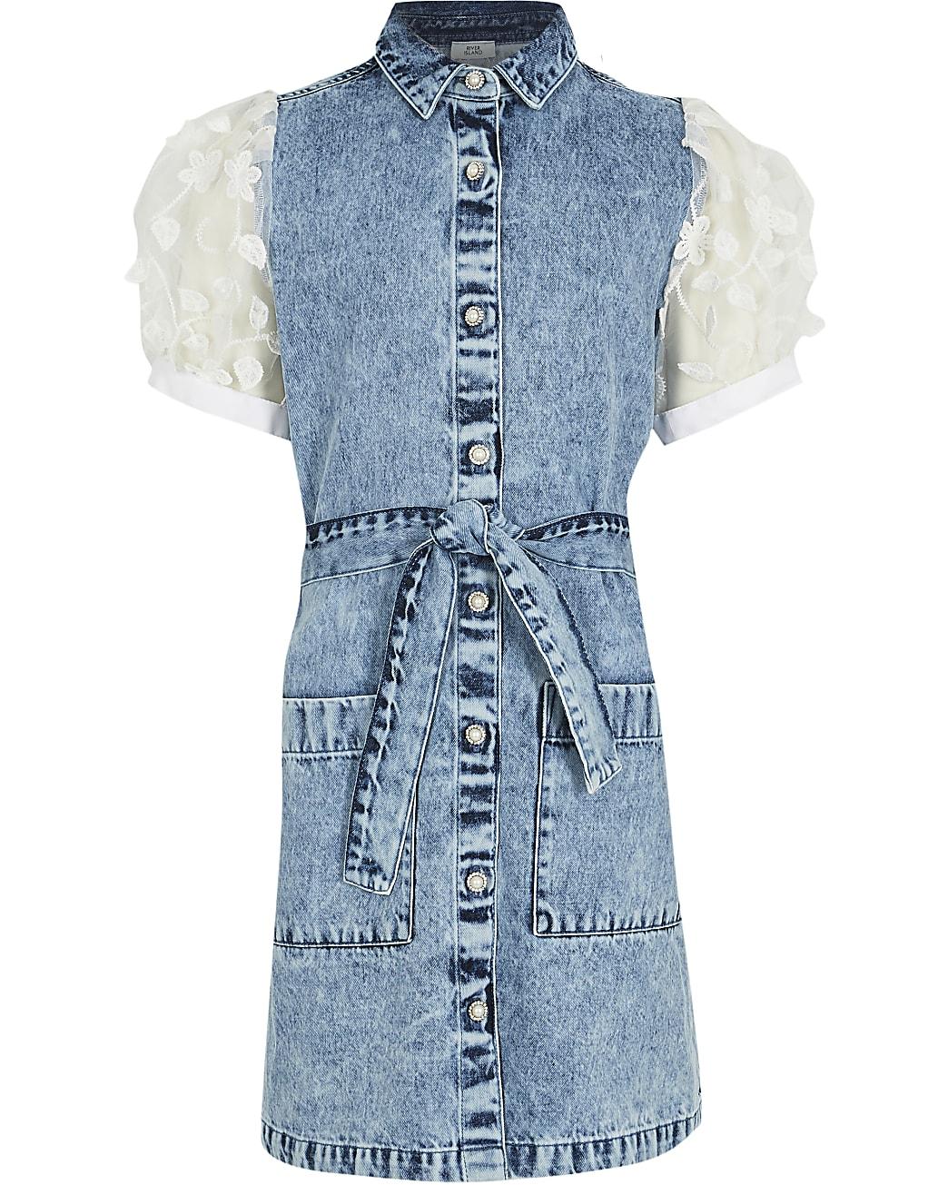 Girls blue denim shirt dress