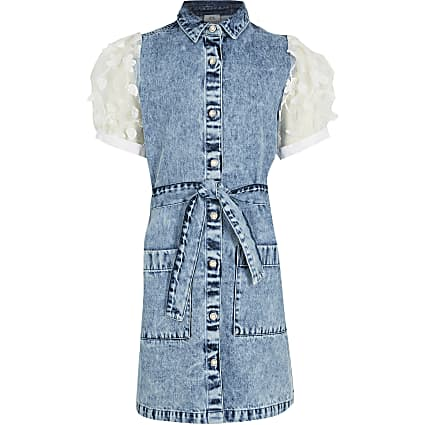 Girls blue denim shirt dress