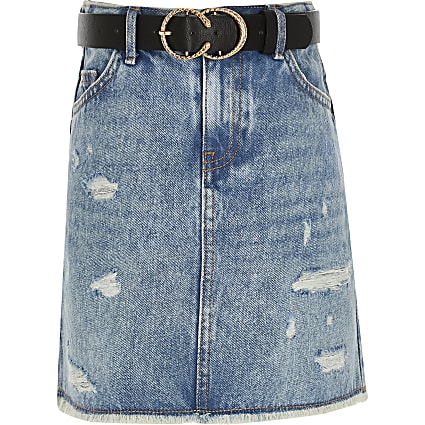 Girls blue denim skirt and belt