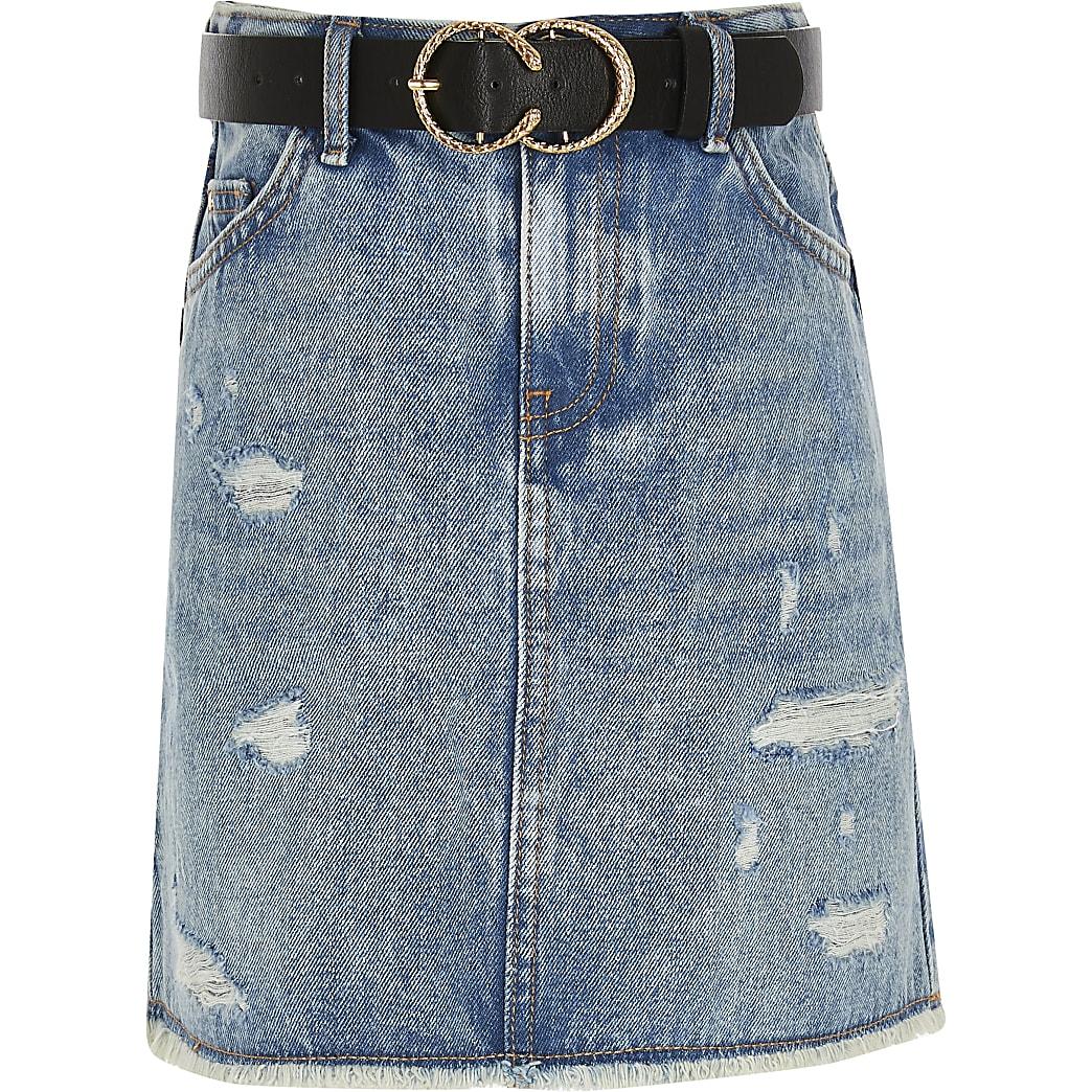 Girls blue denim skirt and belt