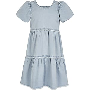 Girls blue denim smock dress