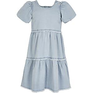 Blauwe gesmokte denim jurk voor meisjes