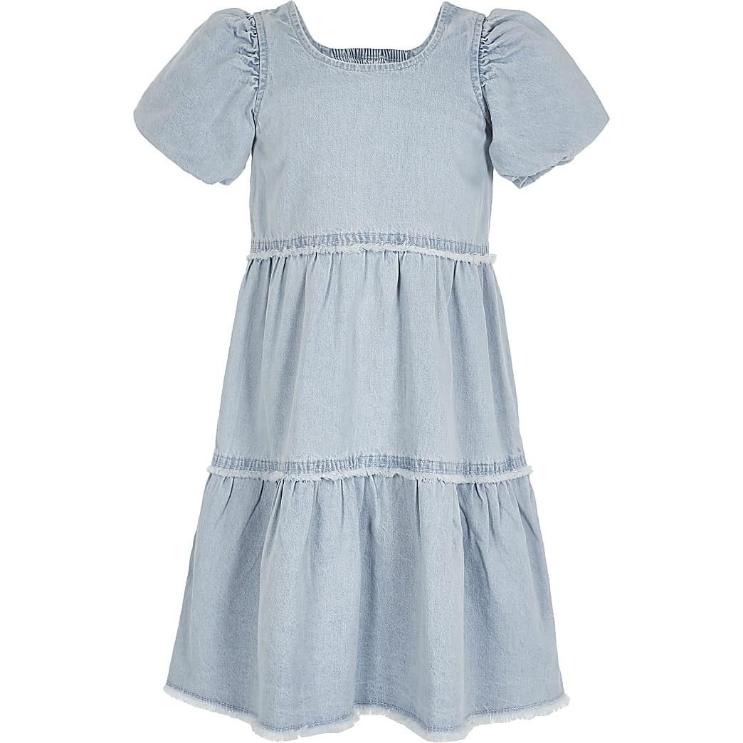 Girls blue denim smock dress