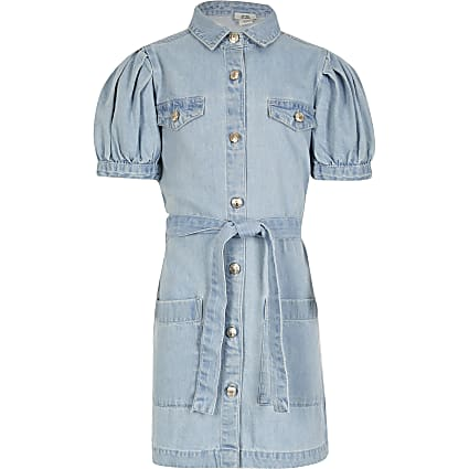 Girls blue denim tie belted shirt dress