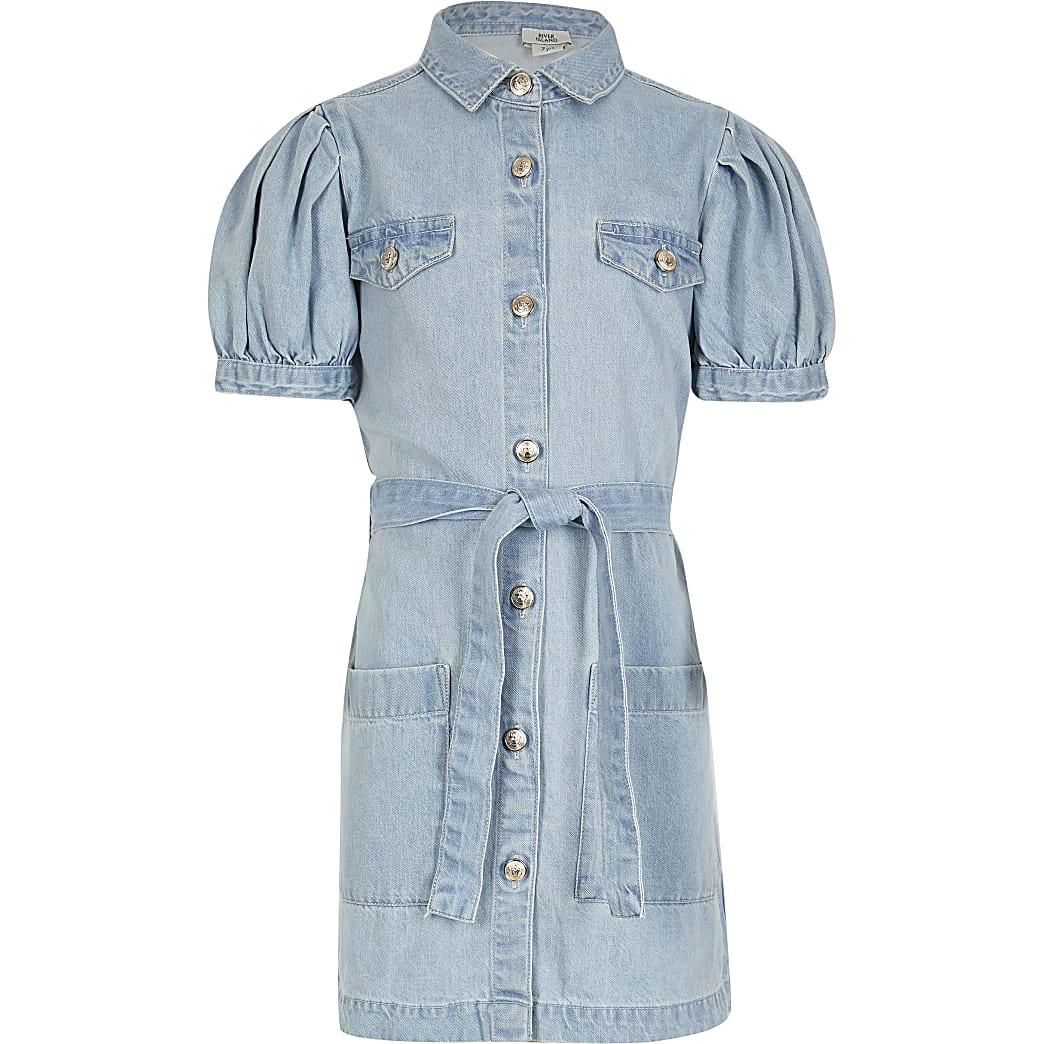 Girls blue denim tie belted shirt dress