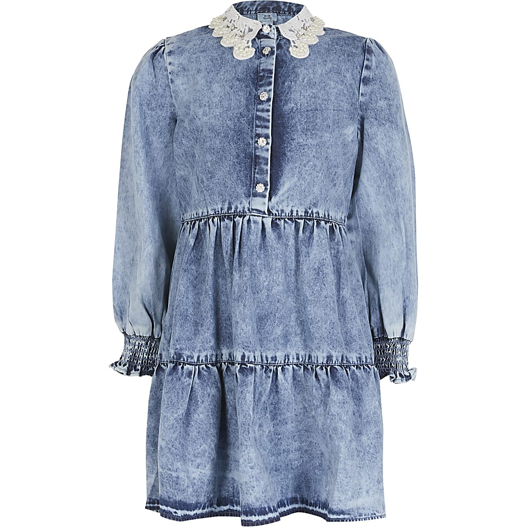Girls blue denim tiered shirt dress