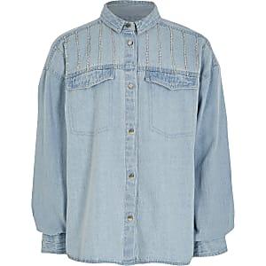 Blauw denim overhemd met siersteentjes voor meisjes