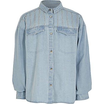 Girls blue diamante denim shirt