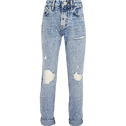 Girls blue diamante high rise Mom jeans