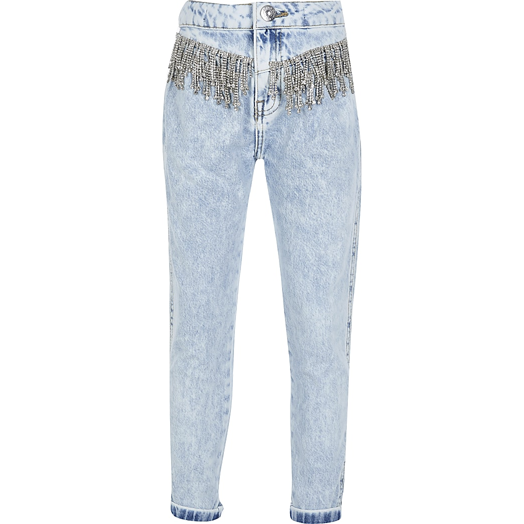 Girls blue diamante high rise Mom jeans