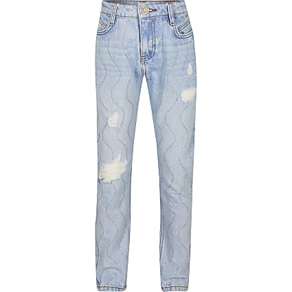 Girls blue diamante Mom jeans